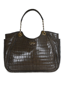 Ferragamo Brown Taupe Crocodile Shoulder Bag 1