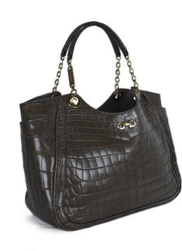 Ferragamo Brown Taupe Crocodile Shoulder Bag 2