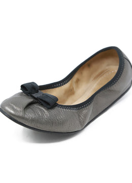 Ferragamo Grey Leather Black Trim Flats 1