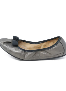 Ferragamo Grey Leather Black Trim Flats 2