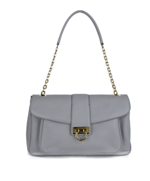 Ferragamo Grey Leather Shoulder Bag Gold Handbag 1
