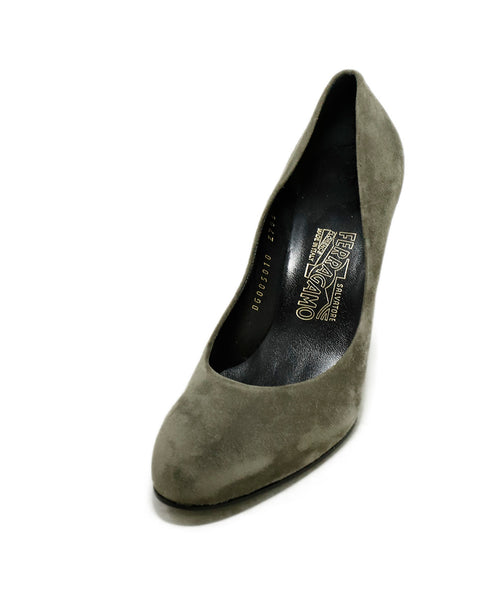 Ferragamo Grey Suede Wedges 1