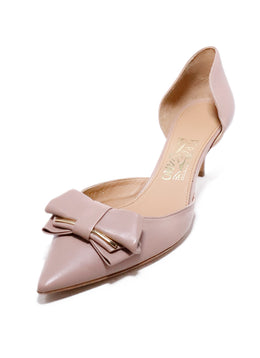Ferragamo Neutral Blush Leather Gold Bow Detail Heels 1
