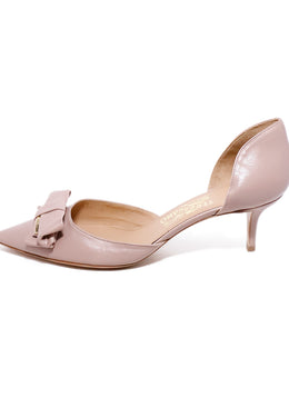 Ferragamo Neutral Blush Leather Gold Bow Detail Heels 2
