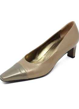 Ferragamo Tan Leather Grey Metallic Heels 1