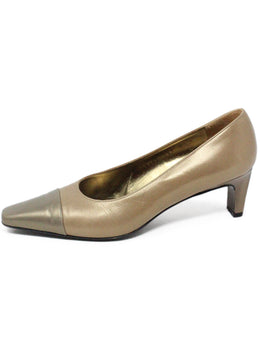 Ferragamo Tan Leather Grey Metallic Heels 2