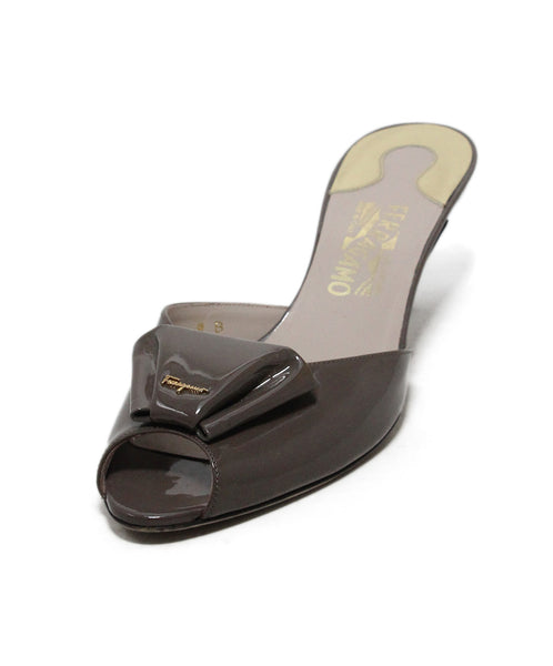 Ferragamo Taupe Patent Leather Sandals 1