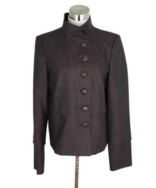 Ferragamo Purple Gold Wool Lurex Jacket 1