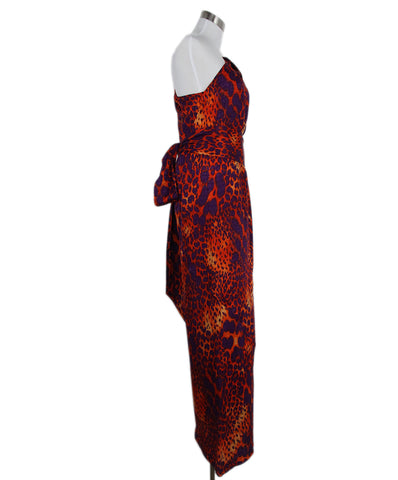 Ferragamo Purple Orange Leopard Print Silk Maxi Dress 1