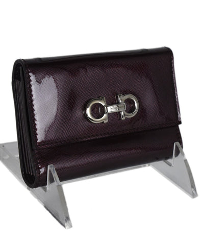 Ferragamo Purple Patent Leather Card Case Wallet 1