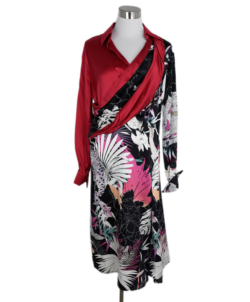Ferragamo Red Black White Print Silk Dress 1