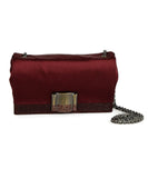 Ferragamo Red Burgundy Satin Crystal Trim Crossbody Handbag | Ferragamo