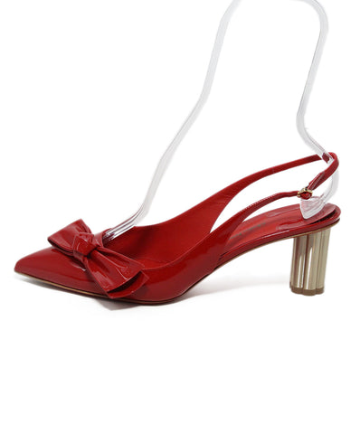 Ferragamo Red Patent Leather Bow Detail Sling Back Heels 1