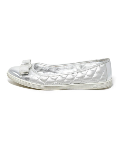 Ferragamo Metallic Silver Quilted Leather Flats 1