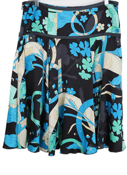 Ferragamo Black Aqua Green Silk Skirt 1