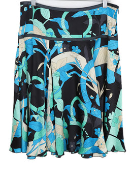 Ferragamo Black Aqua Green Silk Skirt 2