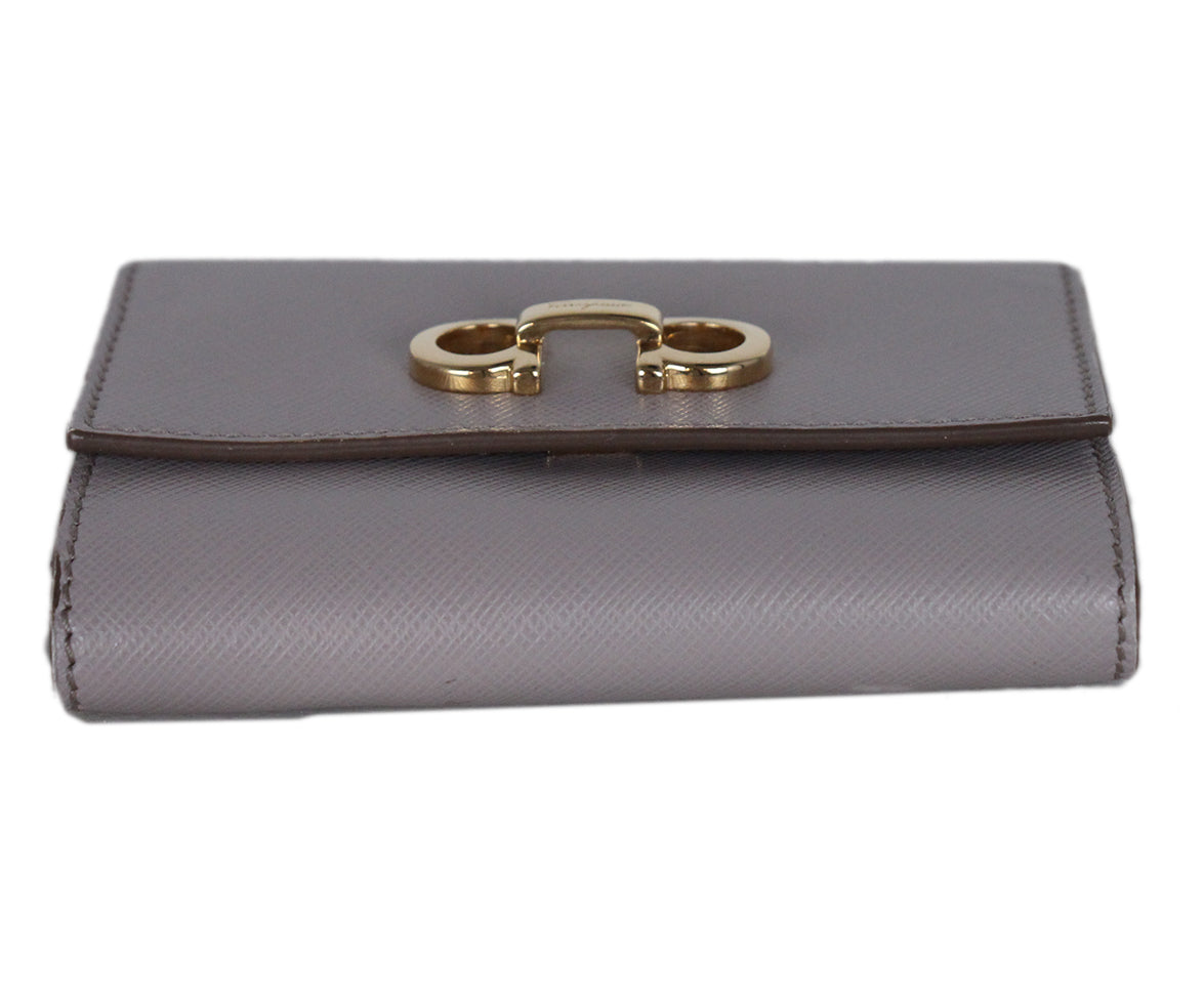Ferragamo Taupe Leather Goods Wallet 4