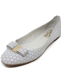 Ferragamo White Cut Leather Flats 1