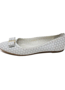 Ferragamo White Cut Leather Flats 2