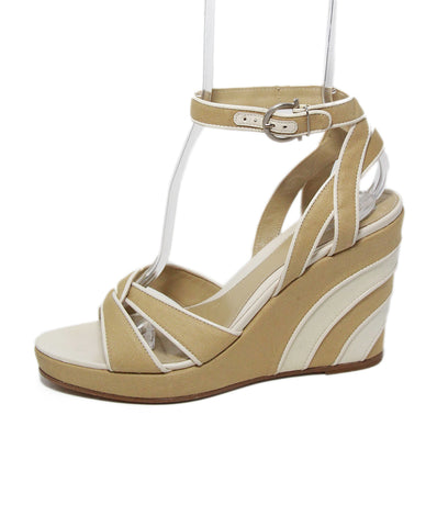 Ferragamo white khaki linen leather trim sandals 1