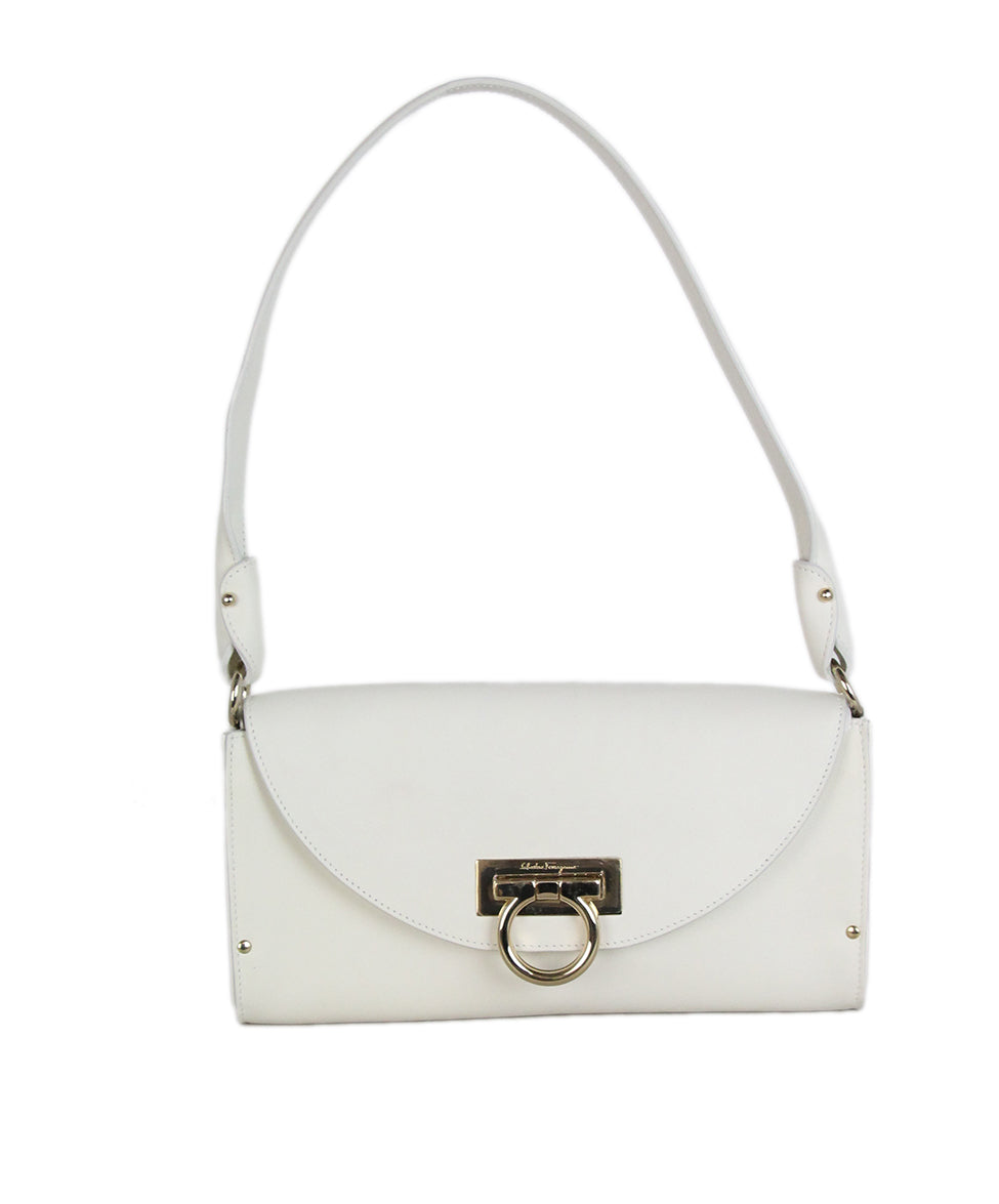 Ferragamo white leather shoulder bag 1