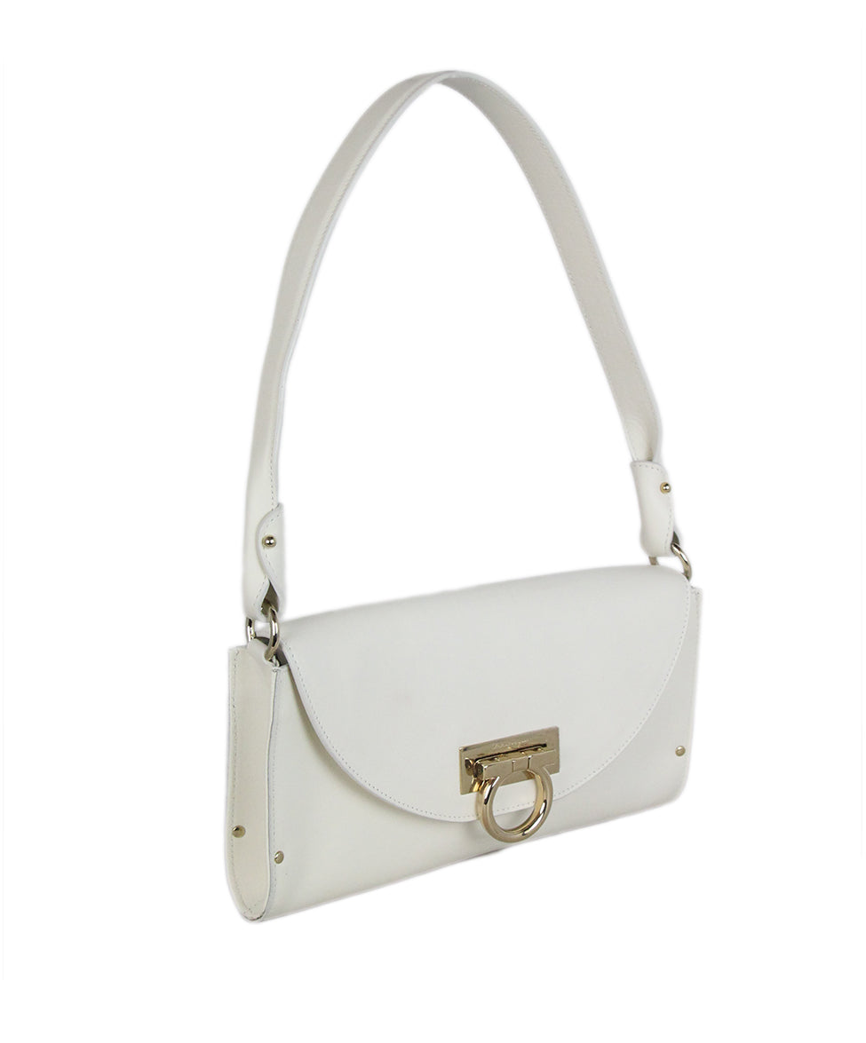 Ferragamo white leather shoulder bag 2