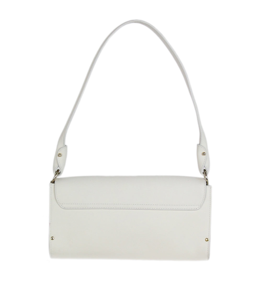 Ferragamo white leather shoulder bag 3