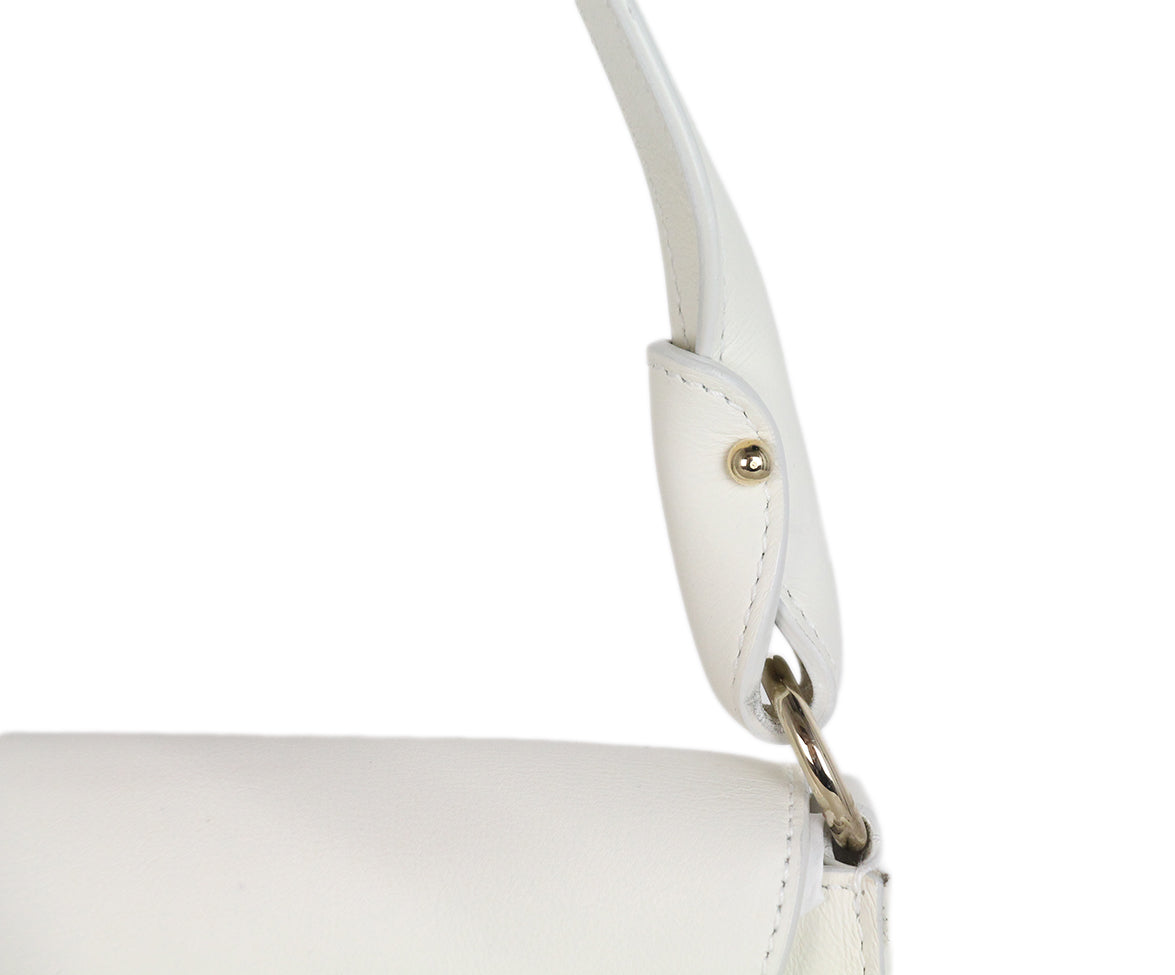 Ferragamo white leather shoulder bag 9