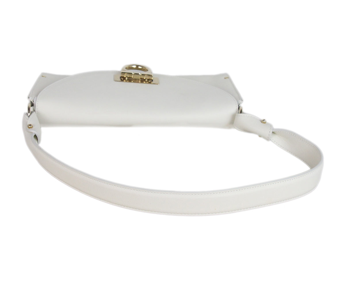 Ferragamo white leather shoulder bag 5