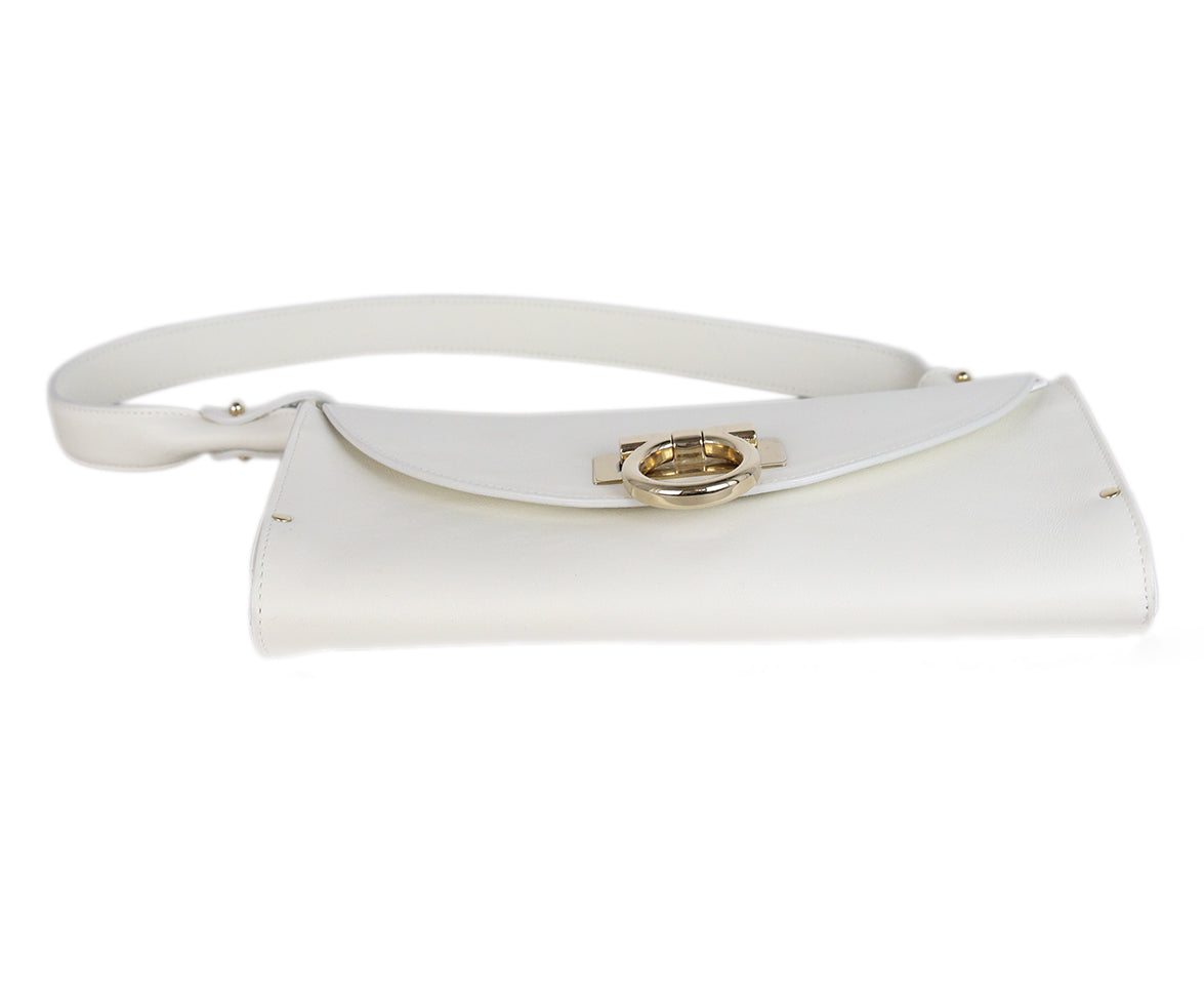 Ferragamo white leather shoulder bag 4