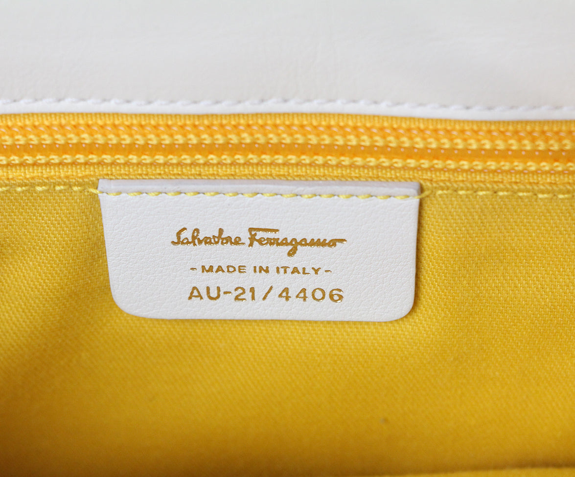 Ferragamo white leather shoulder bag 7