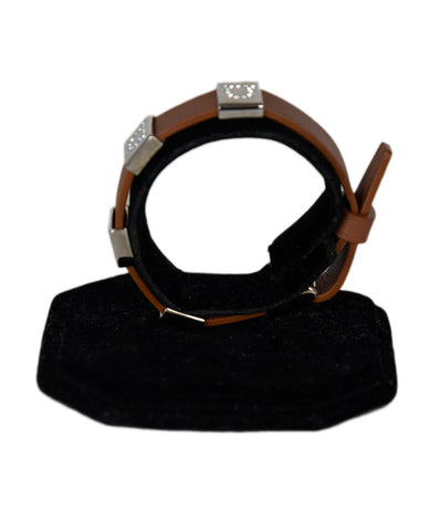 Ferragamo Brown Leather Silver Rhinestone Bracelet 1