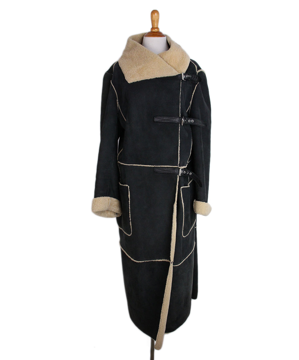 Ferre Charcoal Tan Shearling Coat 1