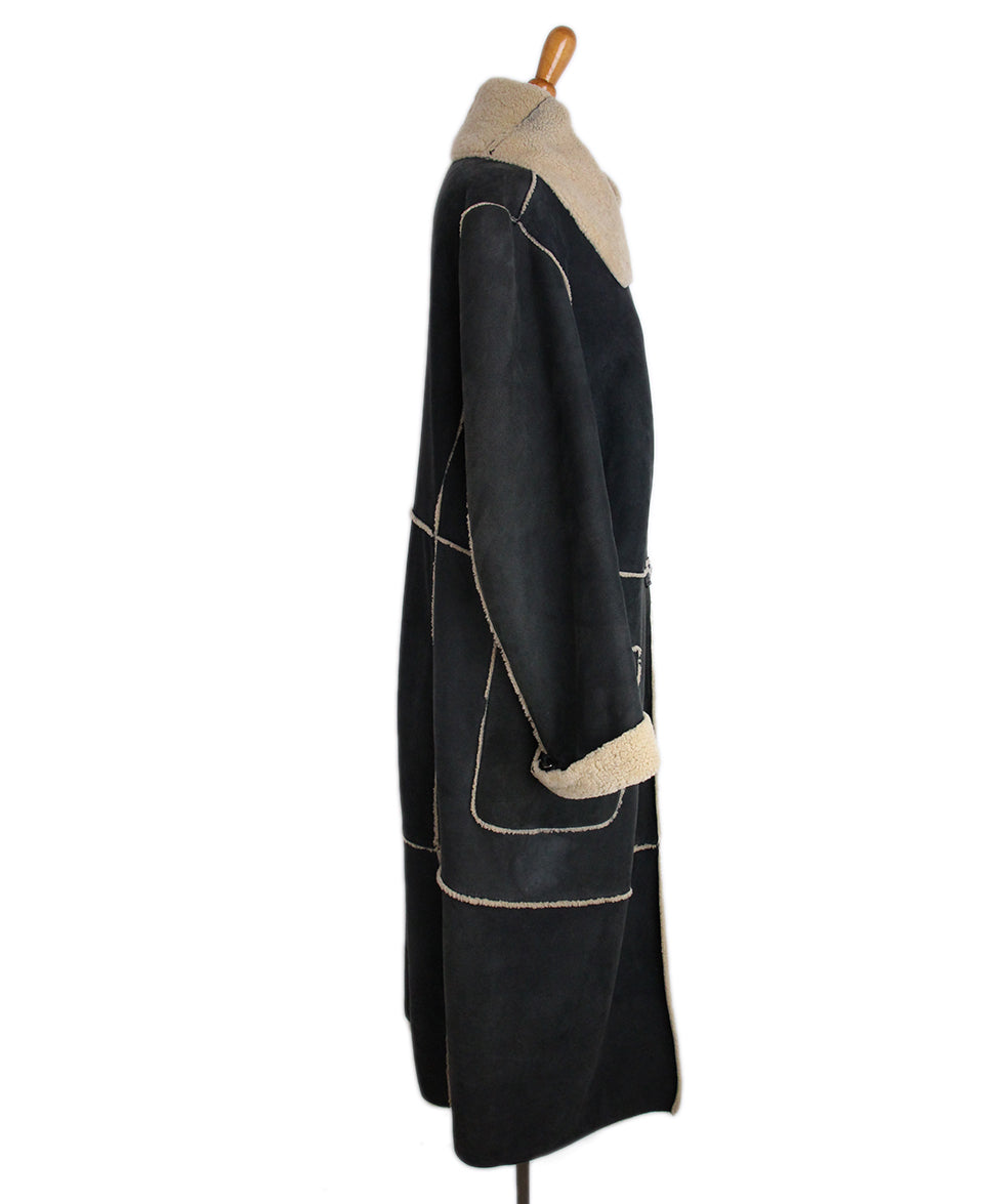 Ferre Charcoal Tan Shearling Coat 2