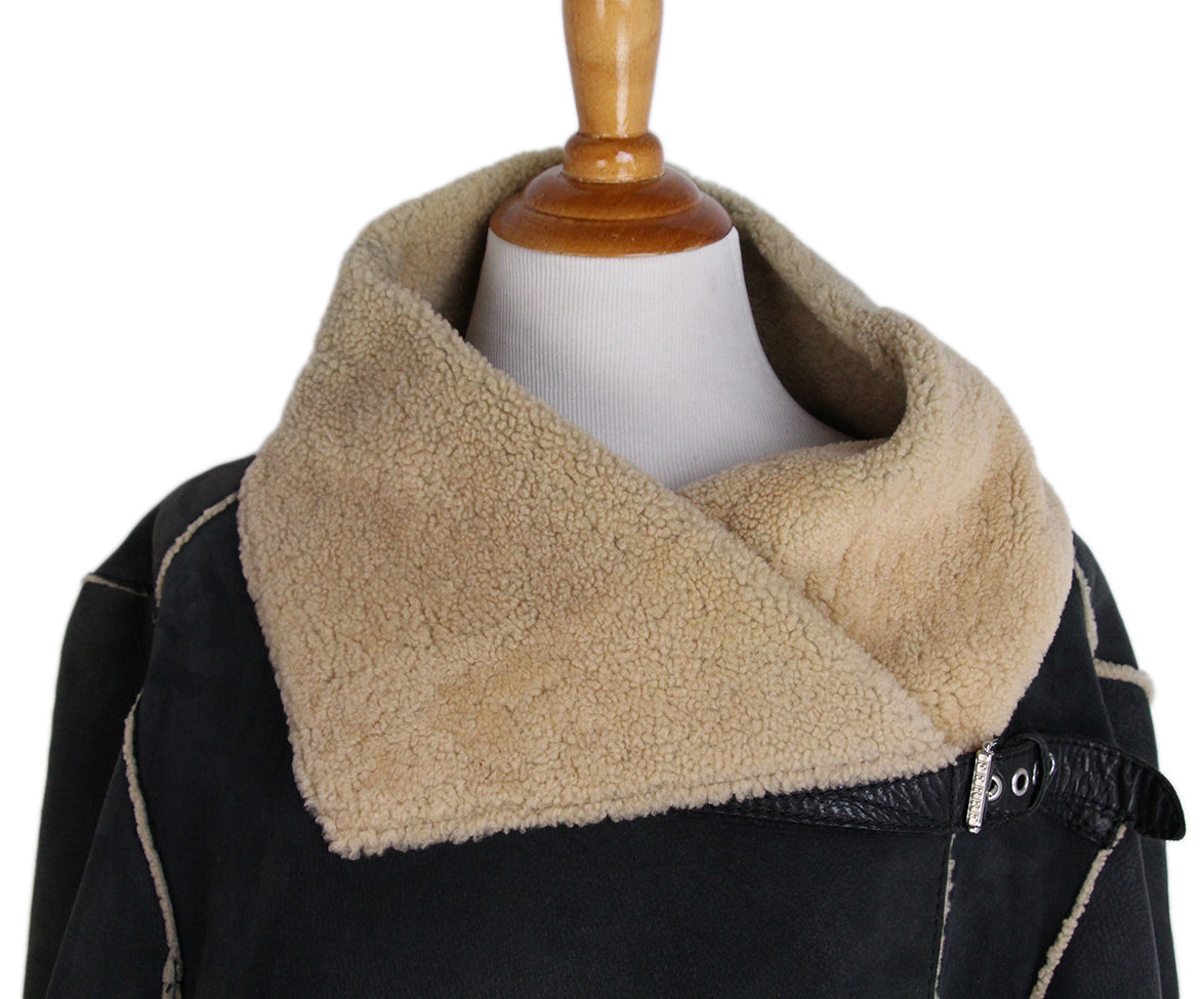 Ferre Charcoal Tan Shearling Coat 7