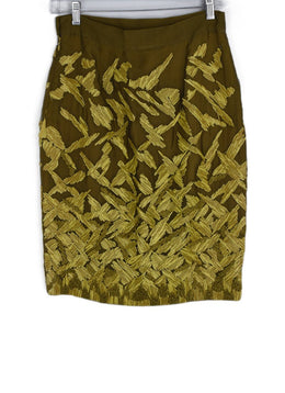 Ferre Yellow Chartreuse Silk Straw Raffia Skirt 2