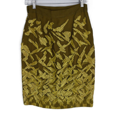 Ferre Yellow Chartreuse Silk Straw Raffia Skirt 1