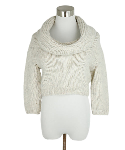 Fischer Neutral Cream Wool Cashmere Lurex Crop Sweater 1