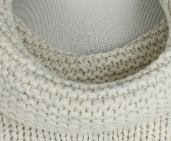 Fischer Neutral Cream Wool Cashmere Lurex Crop Sweater 5