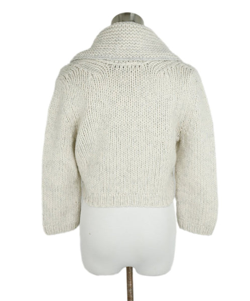 Fischer Neutral Cream Wool Cashmere Lurex Crop Sweater 3