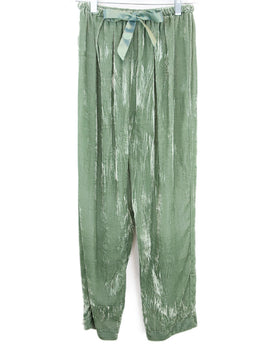 Forte Forte Green Velvet Pants with Ribbon Tie 1