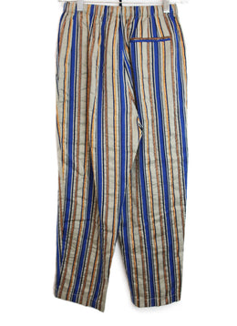 Forte Forte Blue Beige Copper Striped Cotton Pants 2