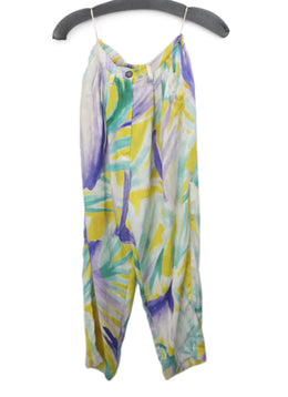 Forte Forte Purple Yellow White Print Silk Pants 1