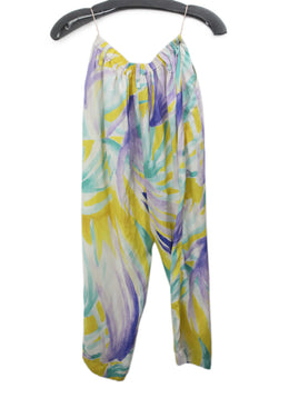 Forte Forte Purple Yellow White Print Silk Pants 2