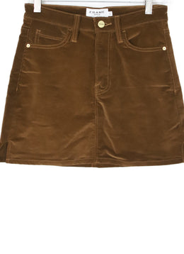 Frame  Brown Corduroy Mini Skirt 1