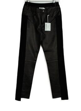 Frame Black Leather Suede Pants 1