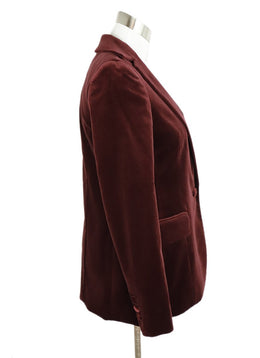 Frame Red Burgundy Velvet Blazer Jacket 2