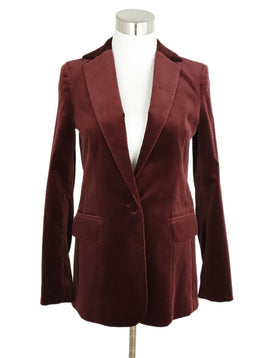 Frame Red Burgundy Velvet Blazer Jacket 1