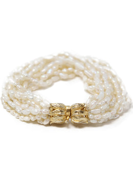 Freshwater Pearls with Gold Clasp Bracelet 2