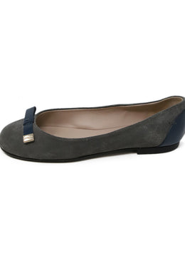 Furla Grey Suede Blue Trim Flats 2